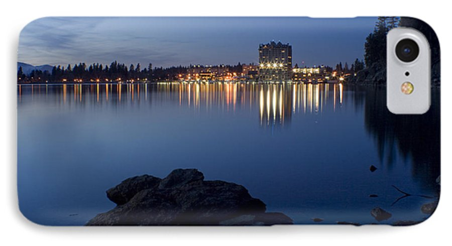 Skyline IPhone 7 Case featuring the photograph Coeur D Alene Skyline Night by Idaho Scenic Images Linda Lantzy