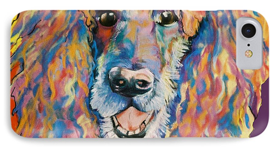 Standard Poodle IPhone 7 Case featuring the painting Cole by Pat Saunders-White