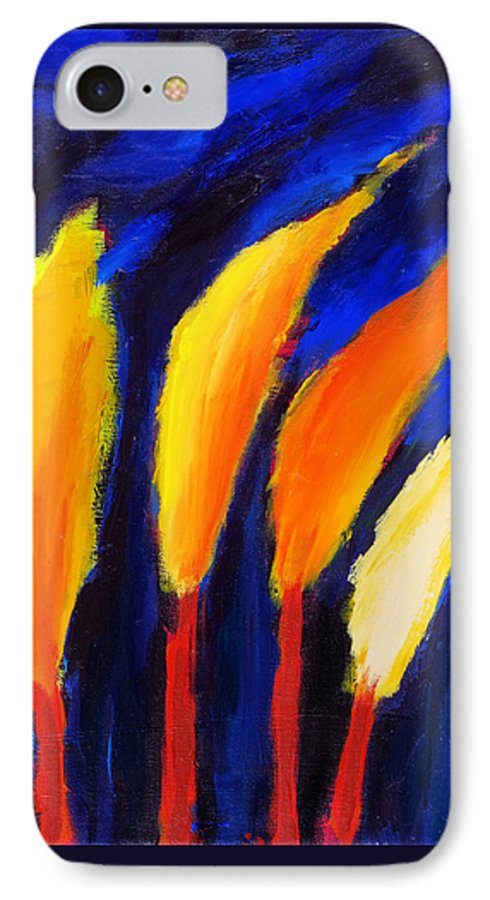 Cypress IPhone 7 Case featuring the painting Colorful Night by Noga Ami-rav