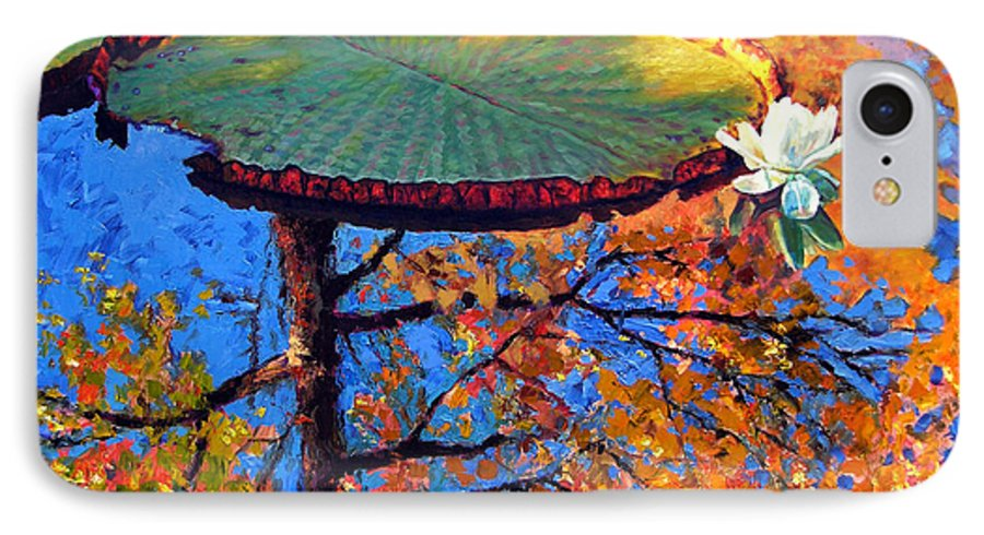 Fall IPhone 7 Case featuring the painting Colors Of Fall On The Lily Pond by John Lautermilch
