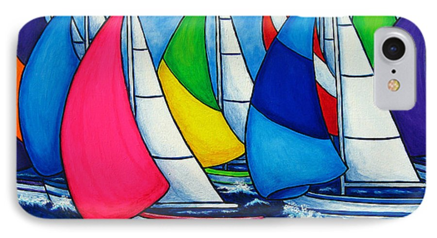 Boats IPhone 7 Case featuring the painting Colourful Regatta by Lisa Lorenz