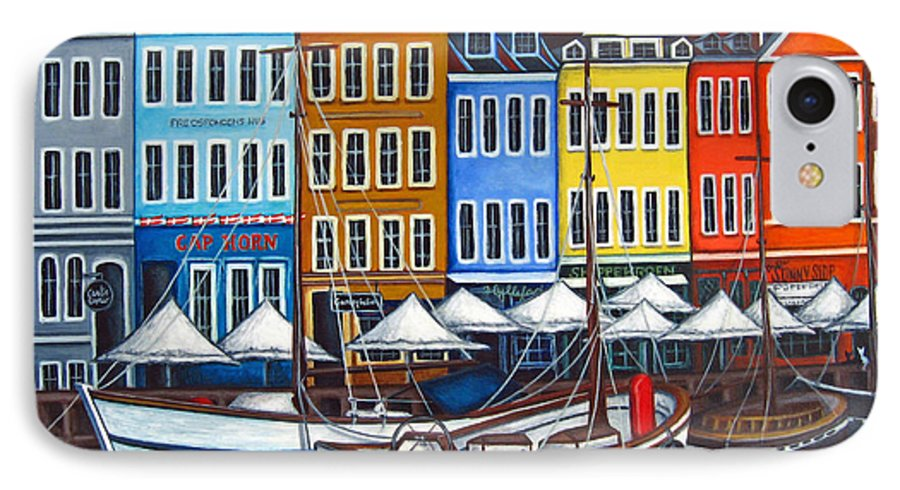 Nyhavn IPhone 7 Case featuring the painting Colours Of Nyhavn by Lisa Lorenz