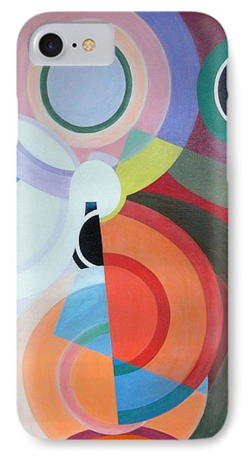 Abstract IPhone 7 Case featuring the painting Complement by Muriel Dolemieux
