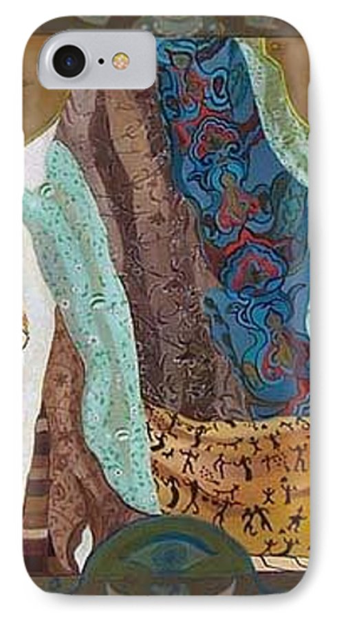 IPhone 7 Case featuring the painting Composition With Scarfs by Antoaneta Melnikova- Hillman