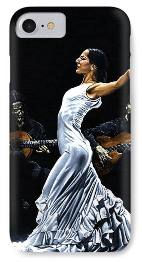 Flamenco IPhone 7 Case featuring the painting Concentracion Del Funcionamiento Del Flamenco by Richard Young