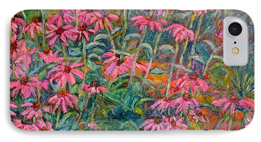 Kendall Kessler IPhone 7 Case featuring the painting Coneflowers by Kendall Kessler