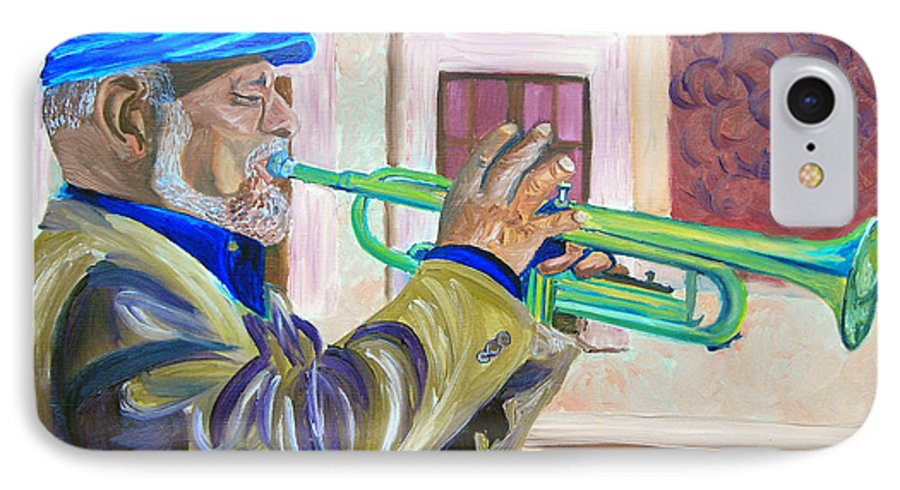 Street Musician IPhone 7 Case featuring the painting Confederate Bugular by Michael Lee