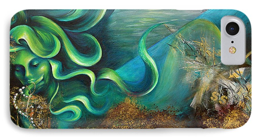 Ocean IPhone 7 Case featuring the painting Confessions Of A Mermaid by Dina Dargo