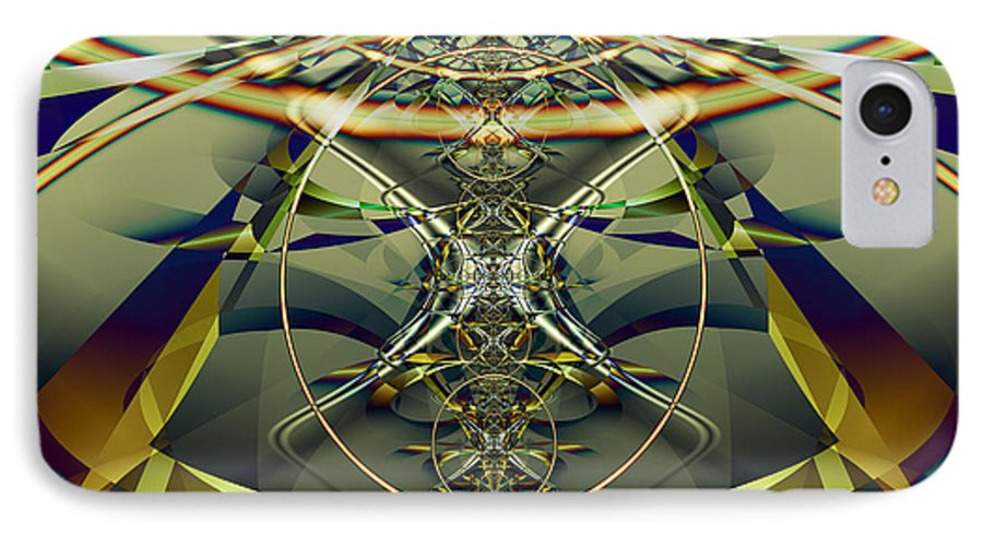 Fractal IPhone 7 Case featuring the digital art Construction Rings by Frederic Durville
