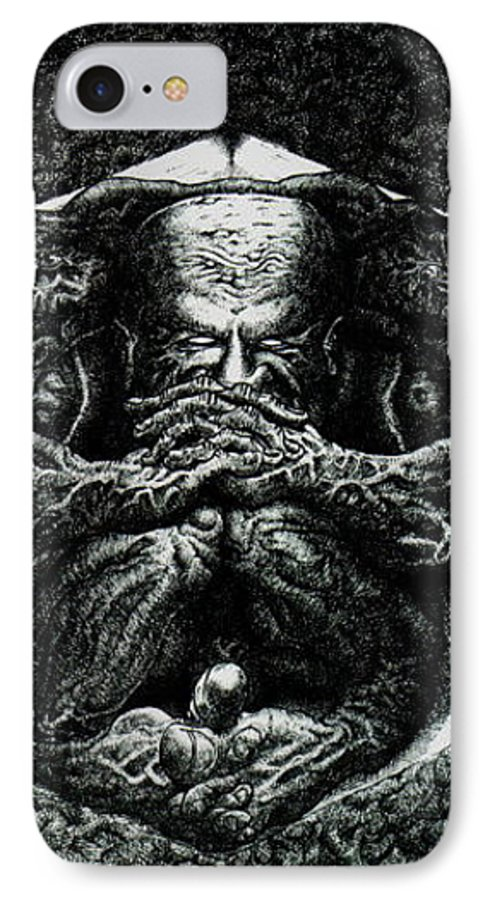 Dark IPhone 7 Case featuring the drawing Contemplation by Tobey Anderson