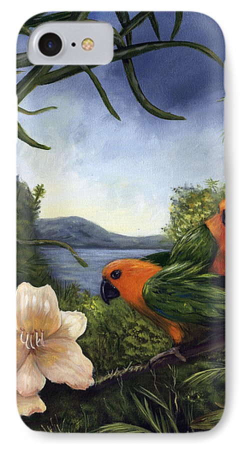 Landscape IPhone 7 Case featuring the painting Conures by Anne Kushnick