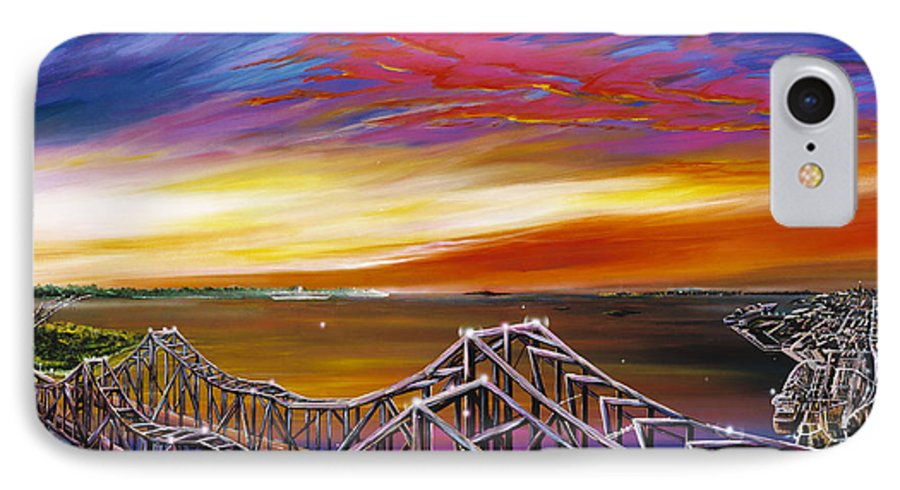 Clouds IPhone 7 Case featuring the painting Cooper River Bridge by James Christopher Hill