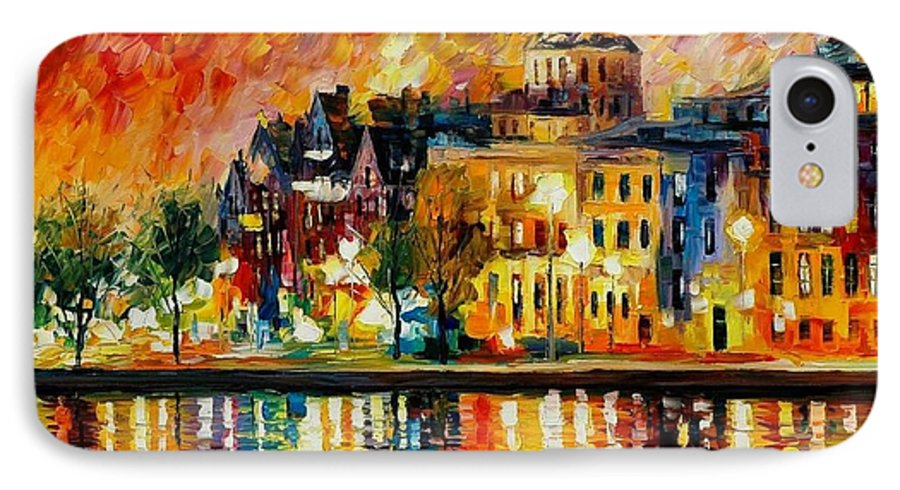 City IPhone 7 Case featuring the painting Copenhagen Original Oil Painting by Leonid Afremov