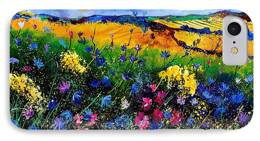 Flowers IPhone 7 Case featuring the painting Cornflowers 680808 by Pol Ledent