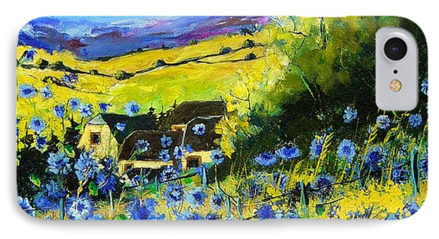 Flowers IPhone 7 Case featuring the painting Cornflowers In Ver by Pol Ledent