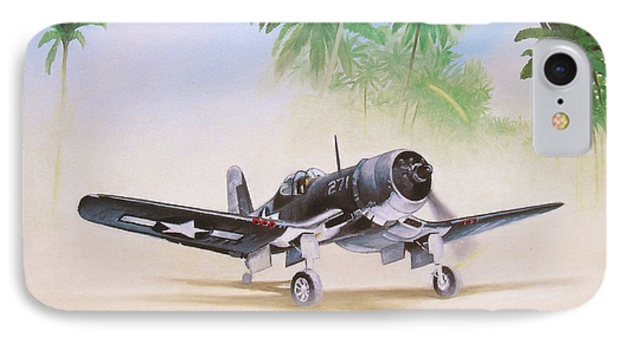 Aviation IPhone 7 Case featuring the painting Corsair Preflight by Marc Stewart