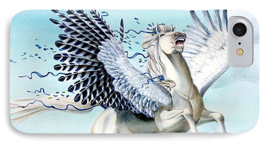 Artwork IPhone 7 Case featuring the painting Cory Pegasus by Melissa A Benson