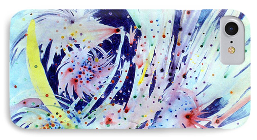Abstract IPhone 7 Case featuring the painting Cosmic Candy by Steve Karol