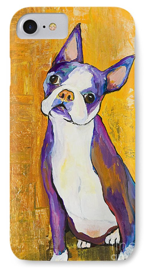 Boston Terrier Animals Acrylic Dog Portraits Pet Portraits Animal Portraits Pat Saunders-white IPhone 7 Case featuring the painting Cosmo by Pat Saunders-White
