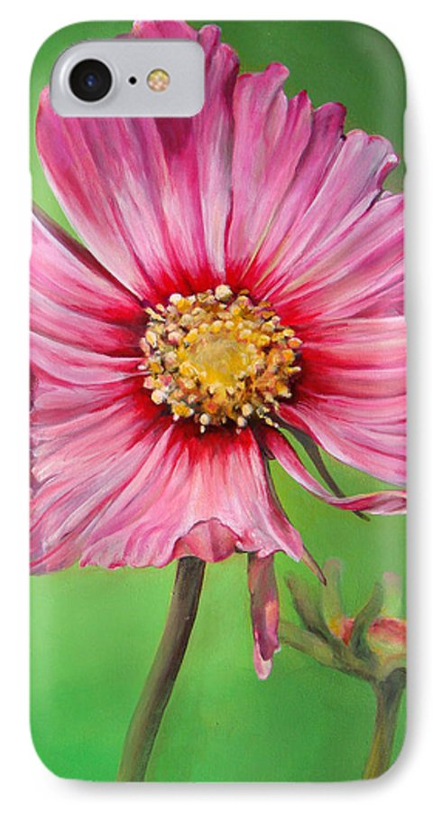 Floral Painting IPhone 7 Case featuring the painting Cosmos by Dolemieux muriel
