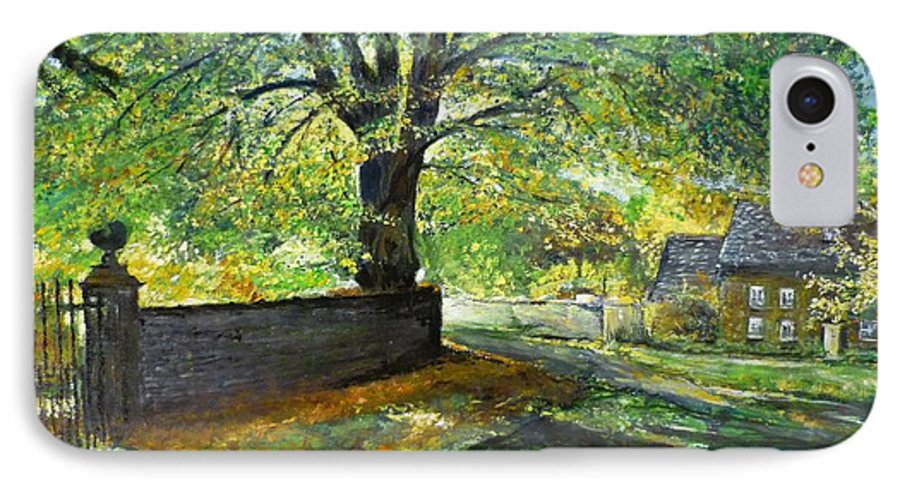 Landscape IPhone 7 Case featuring the painting Cotswold Lane by Lizzy Forrester