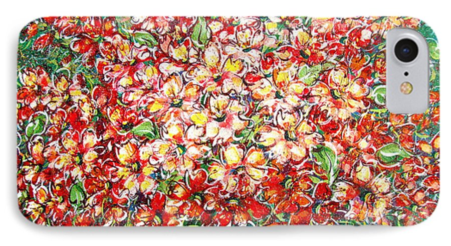 Flowers IPhone 7 Case featuring the painting Cottage Garden Flowers by Natalie Holland