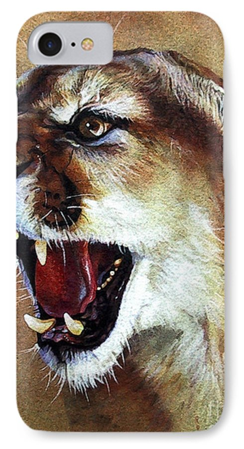 Southwest Art IPhone 7 Case featuring the painting Cougar by J W Baker