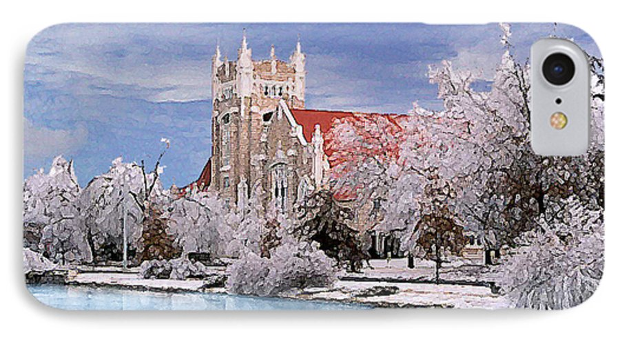 Winter IPhone 7 Case featuring the photograph Country Club Christian Church by Steve Karol