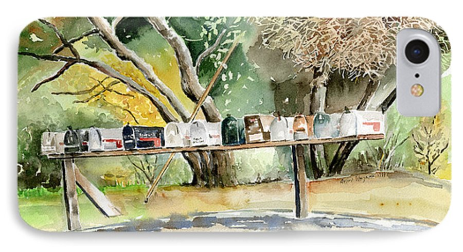 Mailboxes IPhone 7 Case featuring the painting Country Mailboxes by Arline Wagner