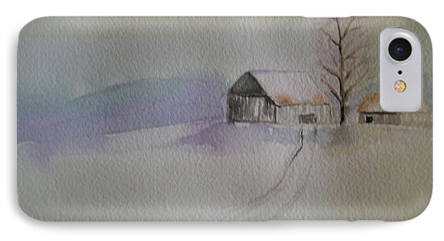 Barn Snow Winter Tree Landscape Cold IPhone 7 Case featuring the painting Country Snow by Patricia Caldwell