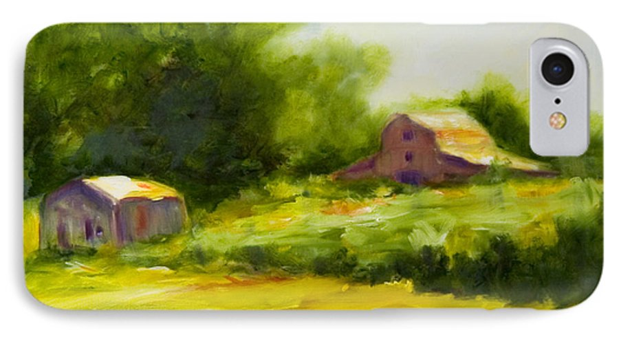Landscape In Green IPhone 7 Case featuring the painting Courage by Shannon Grissom