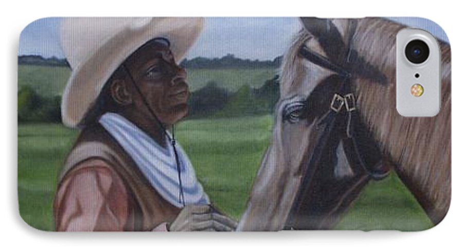 Portrait IPhone 7 Case featuring the painting Cowboy2 by Toni Berry