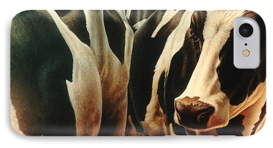 Cows IPhone 7 Case featuring the painting Cows 1 by Hans Droog