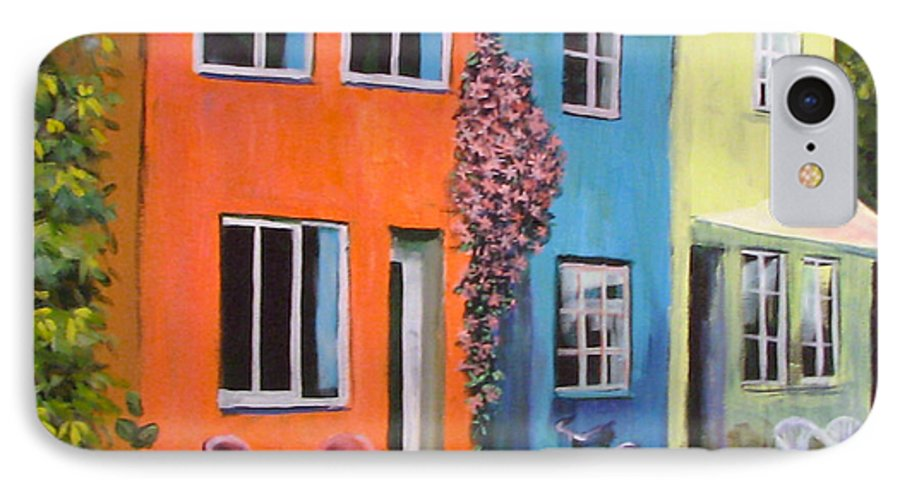 Cozy IPhone 7 Case featuring the painting Cozy Street by Art Nomad Sandra Hansen