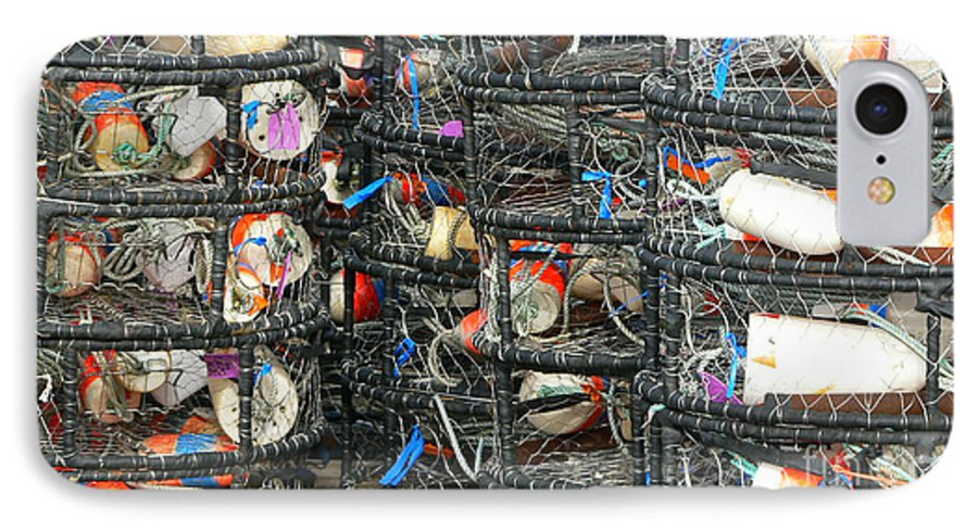 Crabs IPhone 7 Case featuring the photograph Crab Traps by Larry Keahey