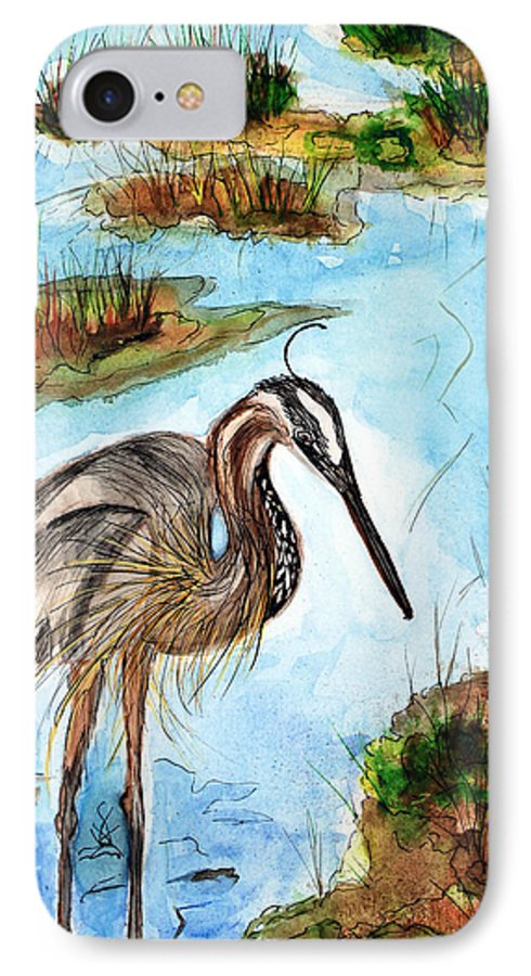 Birds IPhone 7 Case featuring the painting Crane In Florida Swamp by Margaret Fortunato