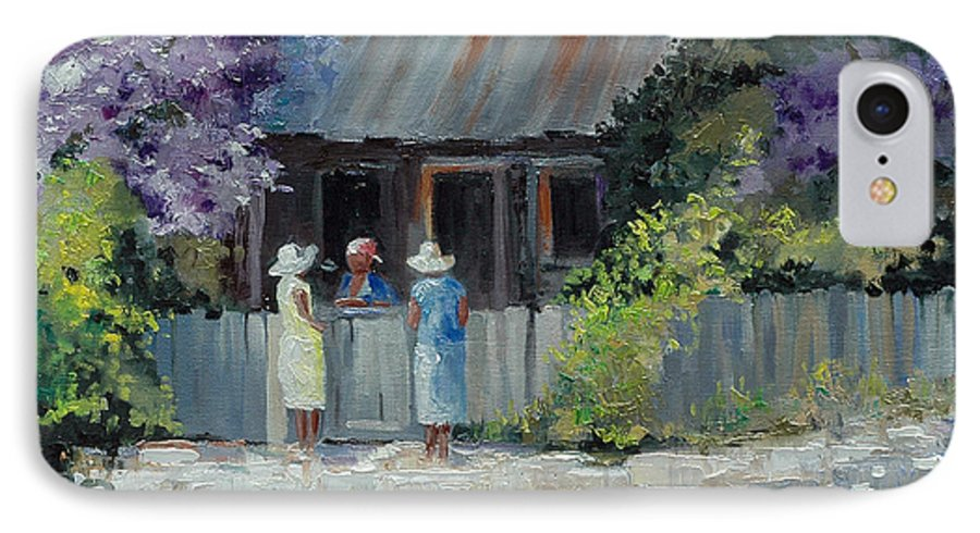 Floral IPhone 7 Case featuring the painting Crape Myrtle And Ladies Of Darien by Glenn Secrest
