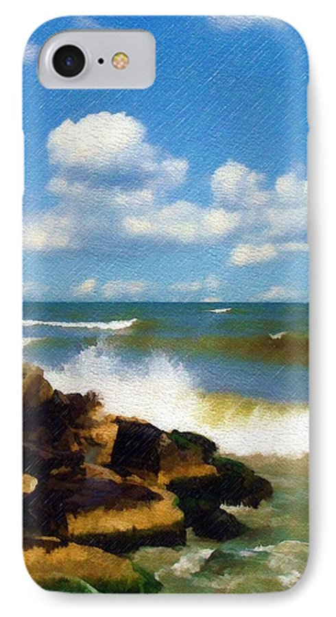 Seascape IPhone 7 Case featuring the photograph Crashing Into Shore by Sandy MacGowan