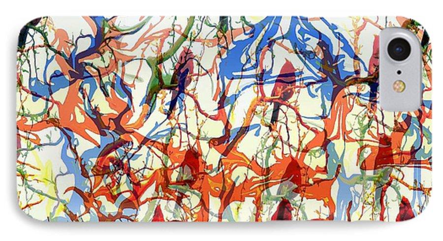 Birds IPhone 7 Case featuring the digital art Crazy Cardinals by Shelley Jones