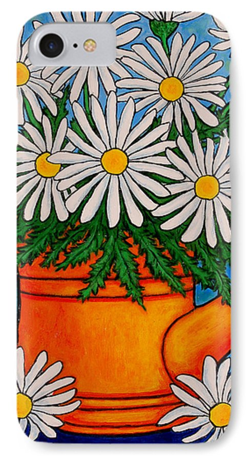 Daisies IPhone 7 Case featuring the painting Crazy For Daisies by Lisa Lorenz