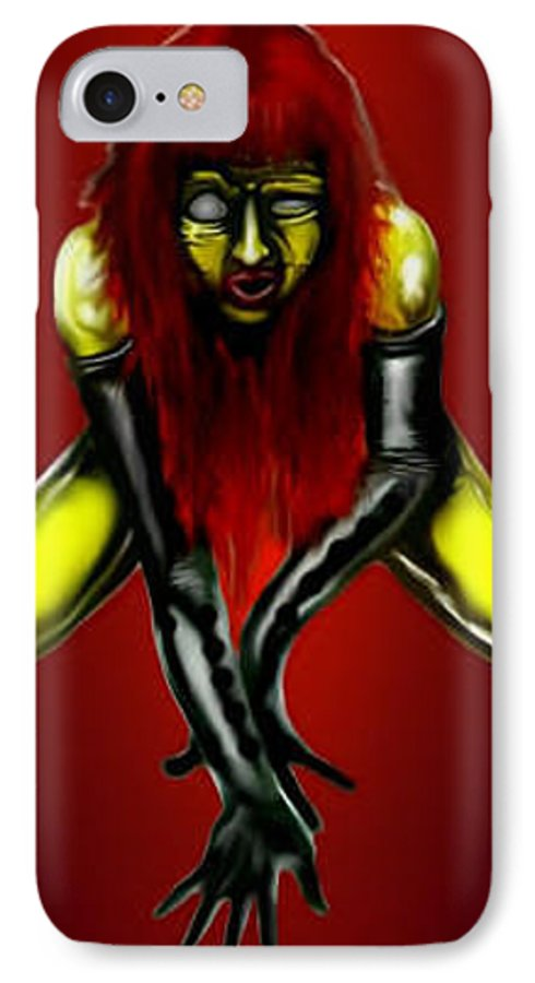 Pin-up IPhone 7 Case featuring the digital art Crimson Gold by Will Le Beouf