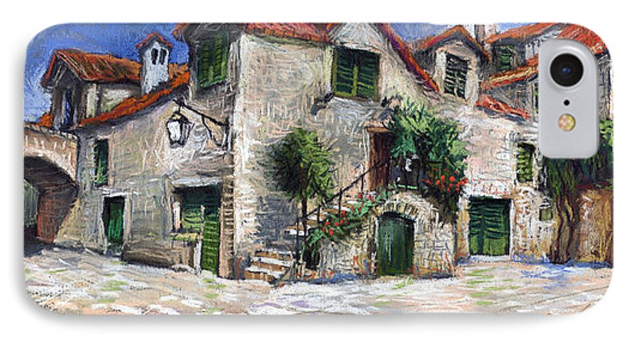 Pastel On Paper IPhone 7 Case featuring the painting Croatia Dalmacia Square by Yuriy Shevchuk