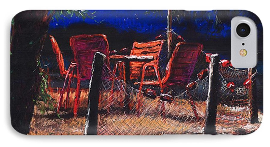 Pastel IPhone 7 Case featuring the painting Croatia Fisherman Restaurant by Yuriy Shevchuk