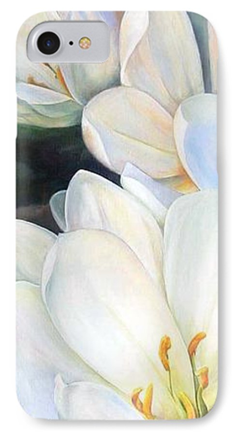 Floral Painting IPhone 7 Case featuring the painting Crocus by Muriel Dolemieux