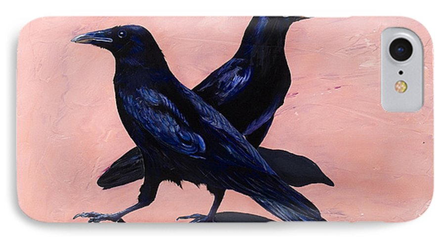 Crows IPhone 7 Case featuring the painting Crows by Sandi Baker