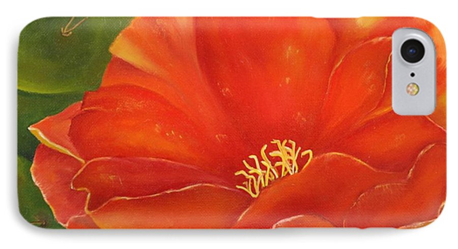 Cactus IPhone 7 Case featuring the painting Cruces Bloom by Teresa Lynn Johnson