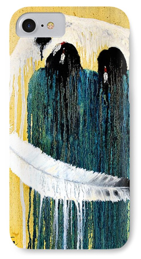 Native American IPhone 7 Case featuring the painting Crying For A Vision by Patrick Trotter