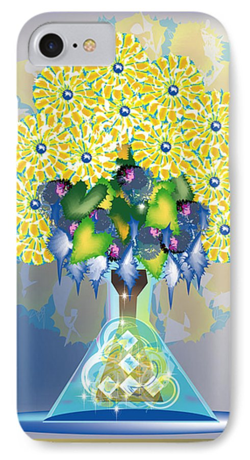 Flowers IPhone 7 Case featuring the digital art Crystal Boquet by George Pasini