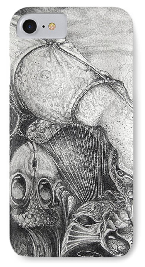 Surrealism IPhone 7 Case featuring the drawing Ctulhu Seedpods by Otto Rapp