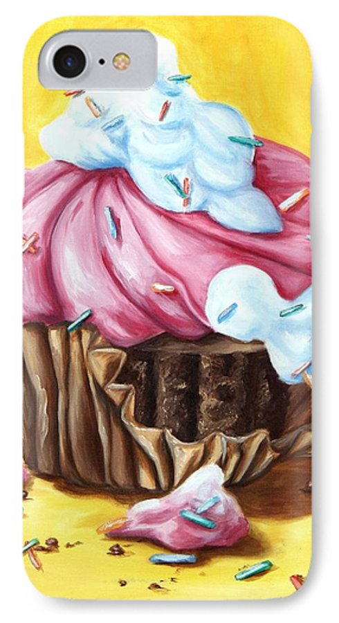 Cupcake IPhone 7 Case featuring the painting Cupcake by Maryn Crawford
